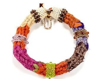Beaded Bangle, Fiber Bangles, Woven Bangles, Handmade, Ethnic Tribal, Bohemian, Bracelets for Women, Textile, Fiber, Glass Beaded, Colorful
