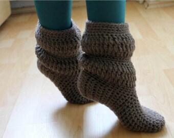 Raspberry hand crochet slipper booties, home slippers
