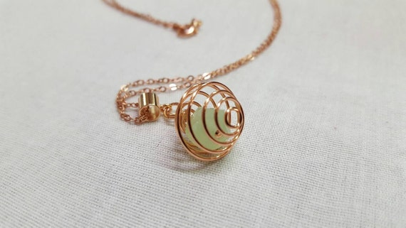Crystal Rose gold pendant - light green