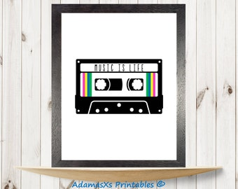 Music tape cassette print, music is life printable, retro vintage music wall art, music nursery, music art print, 80's poster, music quotes