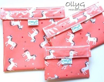 FOOD SAFE - Re-Useable Sandwich snack bags - Unicorns