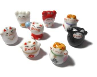 Maneki Neko beads, 8 piece lot, lucky cat beads, beckoning cats, ceramic small beads, Kawaii cat beads, porcelain beads, mixed lot
