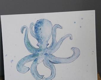 Print of original artwork watercolor ocean octopus vibrant children nursery decor nautical whimsical creature purple green blue underwater
