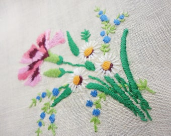 Pair of Hand Embroidered Yellow Linen Napkins  Floral