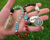 Yggdrasil World Tree Pagan Prayer Beads with Charm Bottle - Norse mythology, Odin