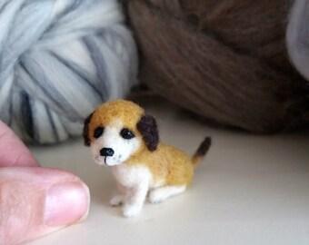 Miniature artist dog - OOAK, needle felted dog, miniature puppy, felt dog, felted animal, felt puppy, art toy, dog doll