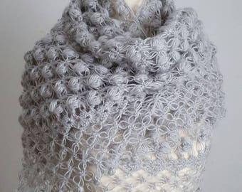 Gray  Shawl, Crochet Shawl,Bridal Bolero, Handmade Cape, Bridal Wrap, Gray Bolero, Unique Shrug, Gray Wrap, Wedding cape