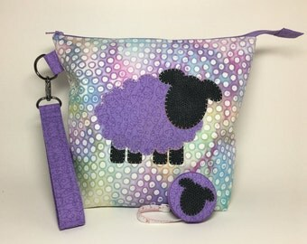 SET - Medium Zipper Top with Handle Knitting Crochet Project Bag and Fabric Covered Retractable Tape Measure - Lavender Sheep