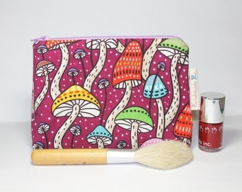Make-up bag, cosmetics bag, autumn woodland print, with toadstools
