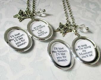 Mother daughter locket matching necklace with inspirational quote I'll love you forever I'll like you for always womens locket pair jewelry
