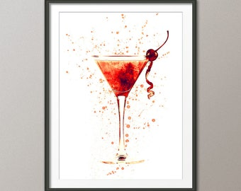 Cocktail Glass, Cocktail Drink, Art Print Poster (2816)