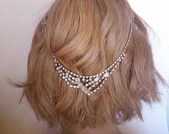 Vintage rhinestone wedding headpiece, Bridal accessory hair chain, Bridal hair jewelry, Boho Bridal headpiece for back of the head,