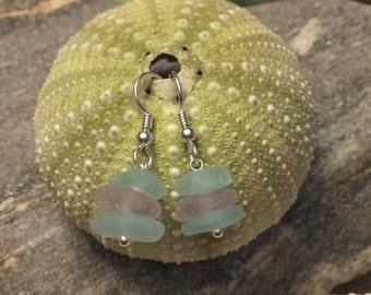 Sea glass jewelry- Purple and Aqua blue Sea glass earrings