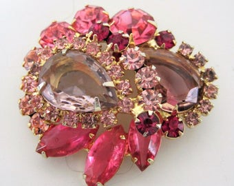 PRICE REDUCED Juliana Rhinestone Brooch - Pink and Amethyst - Delizza and Elster - Open Back Navettes  - 60's  Brooch