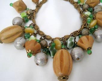 Chunky  Charm Bracelet - Wood Charms - Green Glass Beads