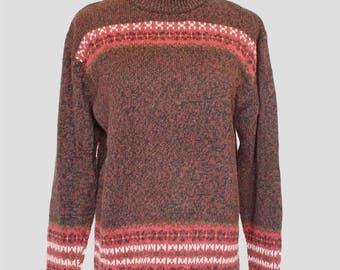 20% OFF SALE Vintage Sweater, Pullover Sweater, Mock Turtleneck Sweater