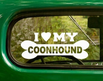 I Love My Coonhound Decal, 2 Decals, Dog Decal, Coonhound Sticker, Dog Sticker, Dog Bone, Car Decal, Laptop Sticker, Vinyl Decal