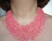 Coral  pink air necklace and bracelet,  multistrand necklace, beadwork necklace, set of 2