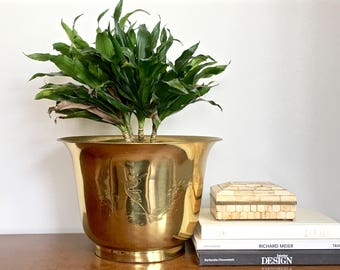 Vintage Brass Planter Gold Metal Asian Indoor Planter Made in Hong Kong
