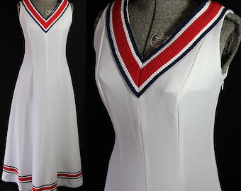 70s Tennis Dress, Nautical, Red White Blue, Maxi, Claire Larabee