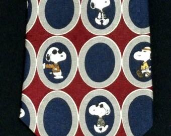 Snoopy Necktie, Peanuts, Cartoon, Comics, Dog Lover, Silk