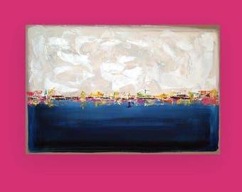 "Art, Large Painting, Original Abstract, Acrylic Paintings on Canvas by Ora Birenbaum Titled: Night Life 2 24x36x1.5"""