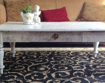 White Shabby Chic Farmhouse Rectangle Coffee Table