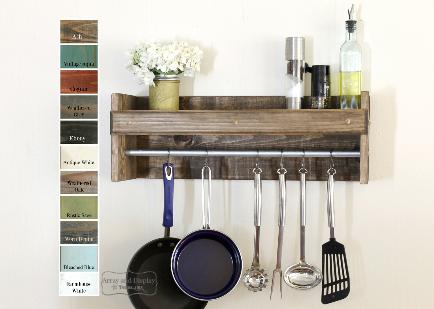 Rustic Kitchen Shelving Rustic Spice Rack Etsy