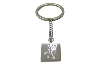 Silver Toned Etched Cheetah Cub Keychain