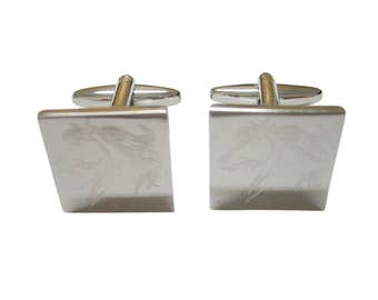 Silver Toned Etched Wild Horse Head Cufflinks