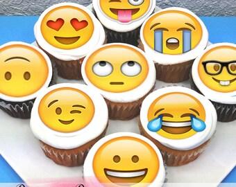 "Emoji Edible Icing Cupcake Toppers - 2"" - PRE-CUT - Sheet of 15"