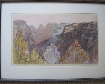 Vintage Framed  Signed Color Woodcut In a Grand Canyon Artists Proof