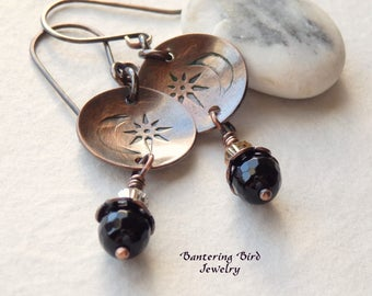 Moon and Star Earrings, Small Black Onyx Drop Earrings with Hand Stamped Copper Disc, Rustic Copper Celestial Jewelry