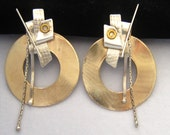 Funky Large Modernist Mixed Metal Earrings in Silver & Gold Tone Metal. Assembled Steampunk Vibe. Mixed Textures. 2 Types of Chain Dangles.
