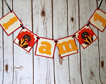 Lil' Turkey Mini Highchair Banner, Gobble Gobble Birthday, Thanksgiving Party