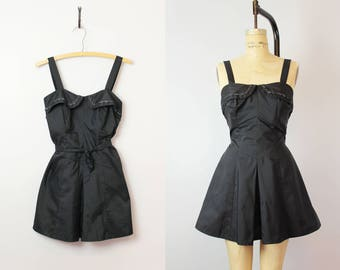 vintage 50s bathing suit / 1950s play suit romper / one piece swimsuit / black skirted swimsuit / glamour swimsuit