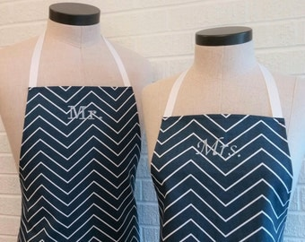 Navy Chevron Pinstripe Mr & Mrs Apron Set with Pocket - Husband and Wife, Kitchen Gift Idea, Free Shipping Made in USA, Nautical