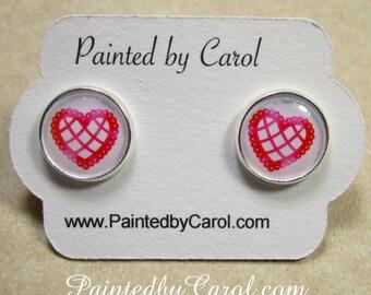 Heart Earrings, Heart Jewelry, Heart Studs, Heart Lever Backs, Heart French Wires, Heart Post Earrings, Valentine Earrings, Kids Earrings