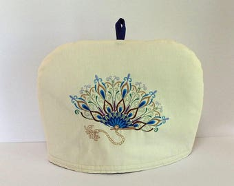 Pheasant Feathers Fan Embroidered  - Dome Tea Cozy with Trivet