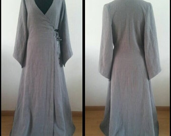 MADE TO ORDER: Grey linen pagan Avalon gown,floor length.   dress druid historical priestess woodland fairy witch elvish priestess