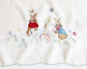 Cute Vintage Easter Tablecloth with Mashine Embroidery and Cutouts, Showing Cute Bunnies Eggs and Flowers