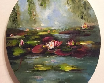 Water Lilies Pond Framed Original Oil Painting Nina R.Aide Fine Art Landscape Canvas 10x8 inch Nature Floral Pond