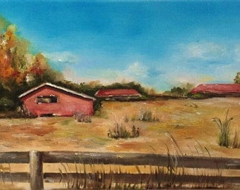 Old Red Barn Oil Painting by Nina R.Aide Original Fine Art Landscape Stretched Canvas Nature 8x16 inches