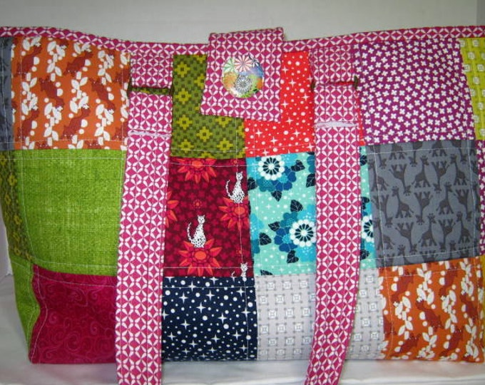 Scrappy Quilted Knitting Crochet Project Craft Tote Bag,