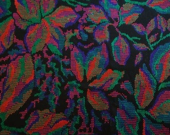Vintage Midnight Black Multi Colored  Knit Polyester Fabric Material