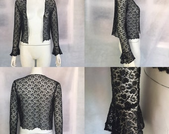 1930s lace jacket with frilled cuffs