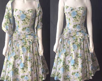 1950s Horrockses dress with stole