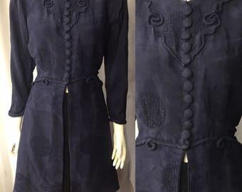 3/4 length 1930s chinese silk evening coat