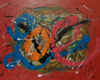 Love Shattered  20x16 Canvas Abstract Acrylic signed original Outsider Drip Art