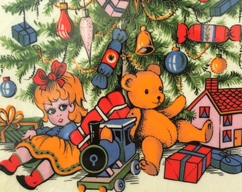 Arthur Woods Plates & Mug RARE 1800s England Pottery Christmas Tree Bear Vintage Toys VIVID colors handpainted MARY artist? Marking Rare